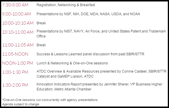 Atlanta SBIR Agenda 03.26.2015