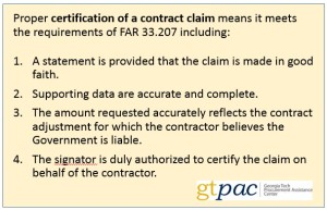Certification of a Contract Claim