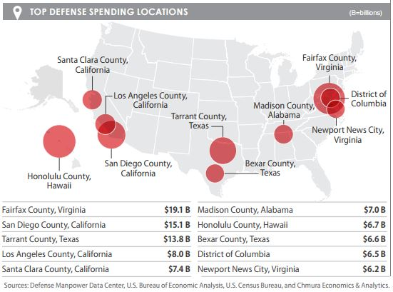 Top DoD Spending Locations in US - FY14