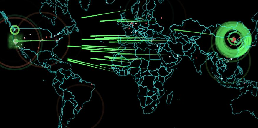 A real-time hack attack map can be seen at http://map.norsecorp.com