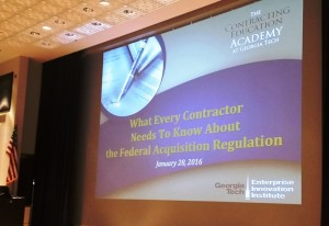 The Contracting Education Academy at Georgia Tech conducted a 3-hour briefing for contractors on the Federal Acquisition Regulation (FAR).
