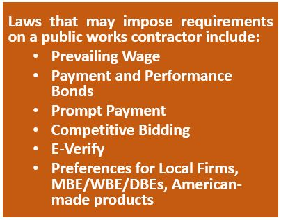 Laws That Impose Requirements on Public Works Contracts