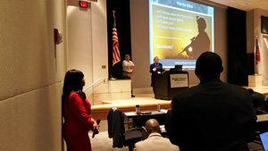 Sharon Morrow of the U.S. Army's Small Business Office answered questions from the audience about upcoming contract opportunities.