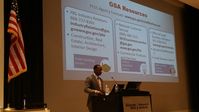 Federal officials like GSA's Torre Jessup (pictured here) briefed Georgia business reps on upcoming contracting opportunities.
